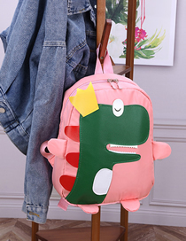 Fashion Pink Dinosaur Stitching Contrast Canvas Kids Backpack