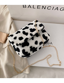 Fashion Cow Pattern Flap Lamb Hair Chain Crossbody Shoulder Bag