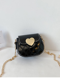 Fashion Black Childrens One-shoulder Diagonal Bag With Chain Love Lock