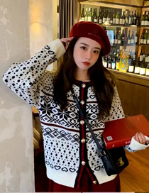 Fashion White Jacquard Geometric Contrast Knitted Jacket