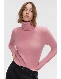 Fashion Pink Turtleneck Solid Color Loose Sweater