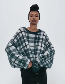 Fashion Green Grid Wool And Alpaca Wool Blend Check Knit Sweater