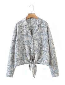 Fashion Grey Print Printed Knotted V-neck Suit Collar Shirt
