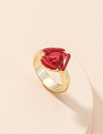 Fashion Gold Color Rose Flower Dripping Alloy Ring