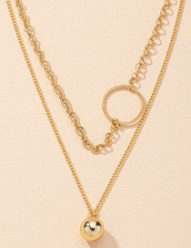Fashion Gold Color Geometric Circle Round Bead Alloy Multilayer Necklace