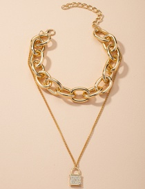 Fashion Gold Color Thick Chain Diamond Lock-shaped Alloy Multilayer Necklace