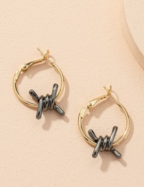 Fashion Gold Color Spiral Hit And Gold Contrast Earrings