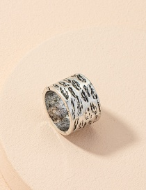Fashion Ring Irregular Concave Convex Surface Wide Edge Alloy Ring