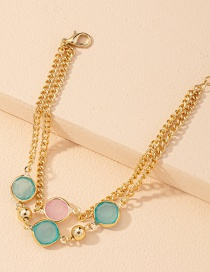 Fashion Gold Color Thick Chain Round Bead Alloy Multilayer Bracelet