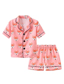 Fashion Foundation Fox Printed Single-breasted Childrens Pajamas Short-sleeved Shorts Set