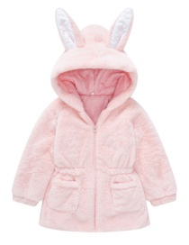 Fashion Pink Bunny Ears Furry Solid Color Hooded Childrens Jacket