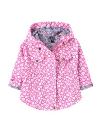 Fashion Rose Red Flower Print Waist Hooded Mid-length Childrens Jacket