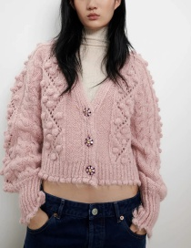 Fashion Pink V-neck Hollow Knitted Jacket With Jewelry Buttons