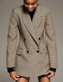 Fashion Coffee Color Double-breasted Plaid Blazer