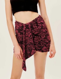 Fashion Red Gold Silk Rose Print Pleated Skirt