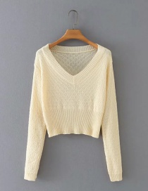Fashion Apricot V-neck Pullover Long Sleeve Sweater