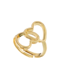 Fashion Golden Copper Hollow Heart Ring
