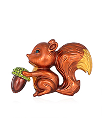 Fashion Red Alloy Squirrel Brooch