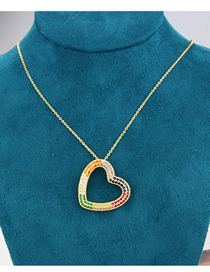 Fashion Gilded Diamond Heart Gold-plated Copper Pendant Necklace
