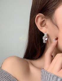 Fashion Silver Diamond Geometric Alloy Earrings