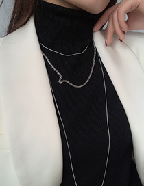 Fashion Silver Stainless Steel Thin Chain Alloy Multilayer Necklace