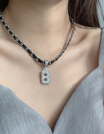 Fashion Silver Braided Necklace With Diamond Letters