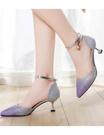 Fashion Purple Pointed Non-slip Sequined Buckle Sandals