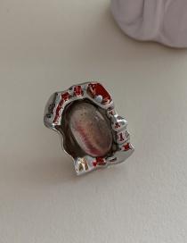 Fashion White Gem Metal Ruffle Wrapped Opal Geometry Ring