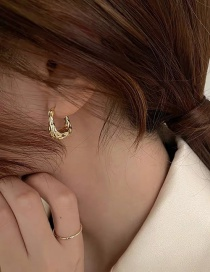 Fashion Golden U-shaped Geometric Bump Texture Earrings