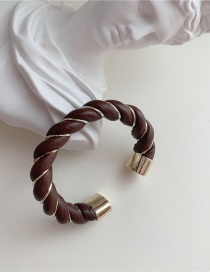 Fashion Brown Leather Twisted Open Bracelet