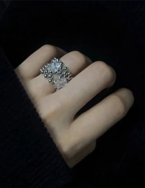 Fashion White Round Bead Micro Inlaid Zircon Broad Edge Ring