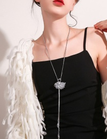 Fashion White Diamond Tassel Swan Alloy Necklace
