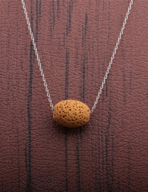 Fashion 1 Yellow Volcano Volcanic Oval Thin Chain Necklace