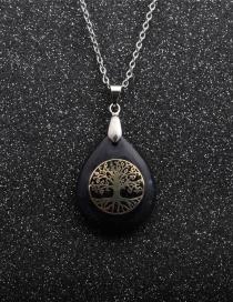 Fashion Tree Of Life Lansha Water Drop Blue Sand White Stone Tree Of Life Pendant Necklace