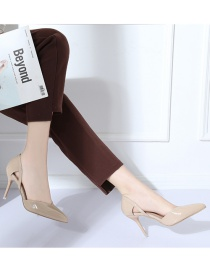 Fashion Khaki Pointed Stiletto Pump Patent Leather Bag With Hollow Sandals