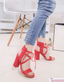 Fashion Red Fish Mouth Chunky Heel Cross Strap Sandals