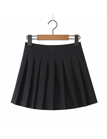Fashion Black Pleated Solid Color Skirt