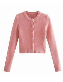Fashion Pink Faux Gem Button Round Neck Sweater Coat