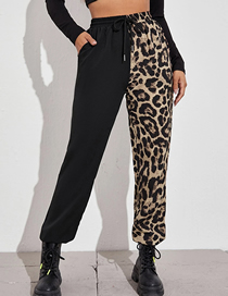 Fashion Black Contrasting And Fleece Lace Trousers