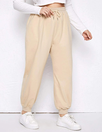 Fashion Khaki Plus Size Large Lace-up Solid Color Loose-fitting Loose Track Pants