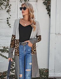 Fashion Leopard Contrast Stitching Leopard Print Long Shawl Knitted Bottoming Shirt