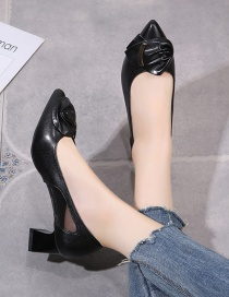 Fashion Black Pointed Net Yarn Breathable Thick Heel Shoes