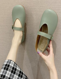 Fashion Green Flat Shoes With Round Toe Belt Buckle
