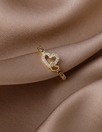 Fashion Love Micro-set Zircon Love Heart Open Ring