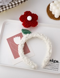 Fashion Red And White Flower Lamb Hair Hit Color Headband