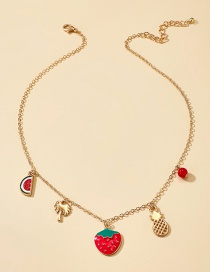 Fashion Golden Strawberry Pineapple Watermelon Alloy Dripping Necklace