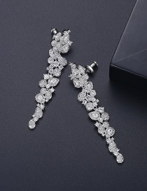 Fashion Platinum Gold-plated Copper Geometric Long Earrings With Diamonds