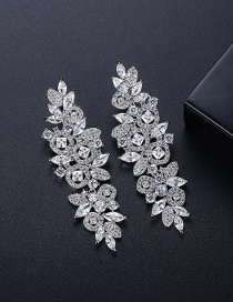 Fashion Platinum Gold-plated Copper And Diamond Flower Tassel Earrings