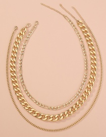 Fashion Golden Metal Thick Chain Alloy Multilayer Necklace