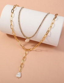 Fashion Golden Imitation Pearl Pendant Rhinestone Claw Chain Multilayer Necklace